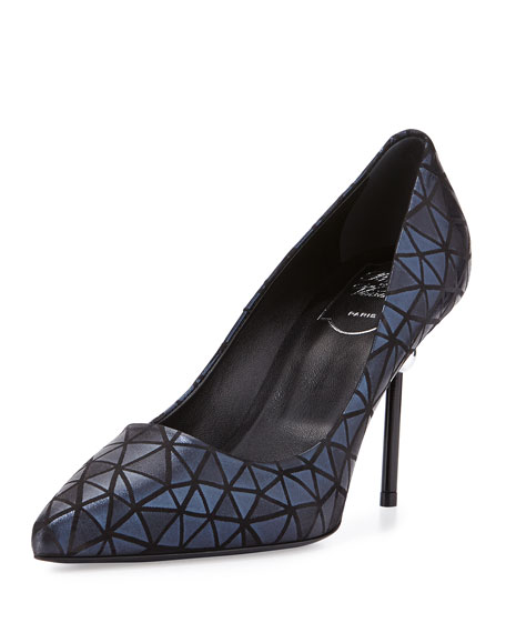 Decollete Prismick Leather Pump, Navy