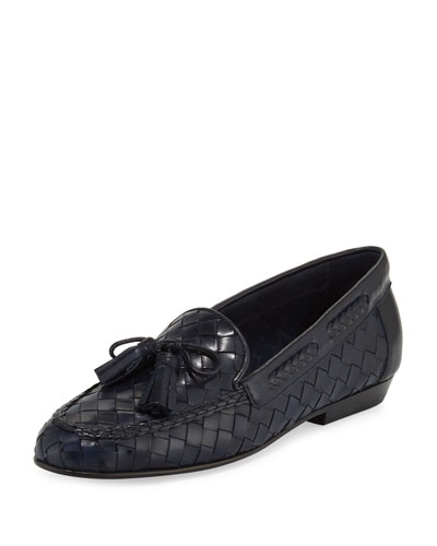 Nicole Woven Leather Loafer, Navy
