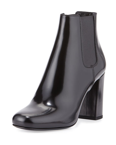 Saint Laurent Polished Leather Chelsea Boot, Black