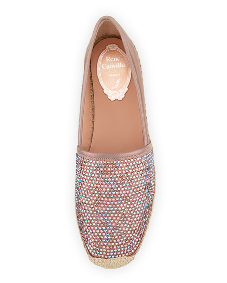 Crystal-Embellished Leather Espadrille, Pink