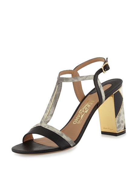 Salvatore Ferragamo Great Patchwork 85mm Sandal, Lait