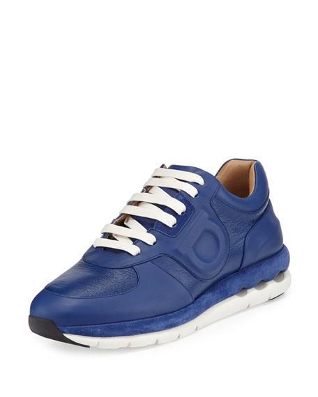 Salvatore Ferragamo Morgan Leather Gancio Sneaker, Ocean