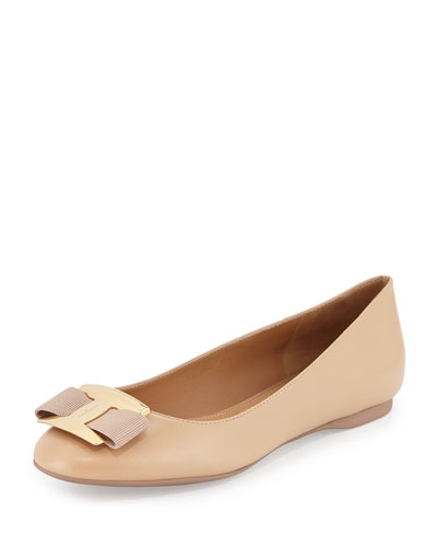 Ninna Leather Bow Flat, Bisque
