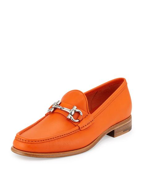 salvatore ferragamo leather gancini loafer orange
