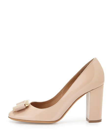 Patent Leather Bow Pump, New Bisque