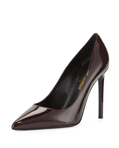 Patent Leather 105mm Pump, Burgundy