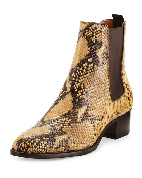 Saint Laurent Python-Print Leather Bootie, Animal
