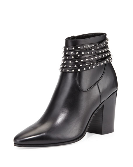 Studded-Wrap Leather Bootie, Black
