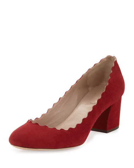 Lauren Scalloped Suede Pump, Red