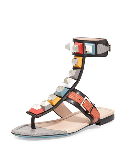 Multicolor Studded Ankle-Wrap Sandal, Black