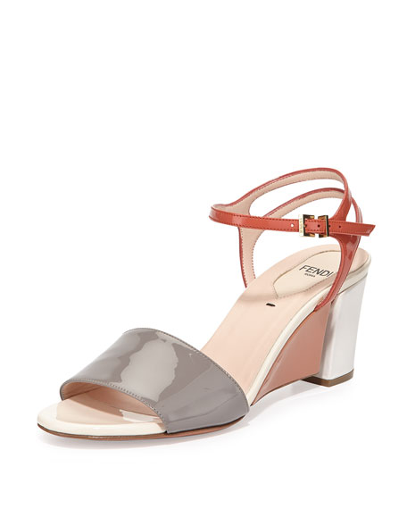 Fendi Colorblock Patent Wedge Sandal, Ash/Pimento