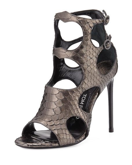 TOM FORDCutout Python and Leather 105mm Sandal, Antique