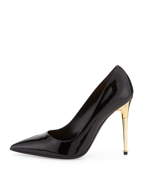 Patent Leather Pin Heel Pump, Black