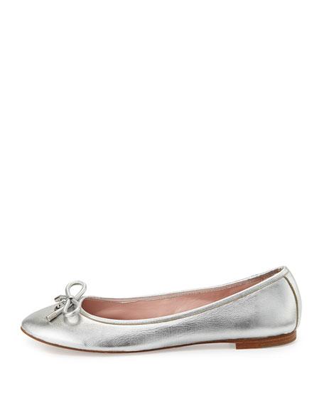 willa metallic leather ballerina flat, silver