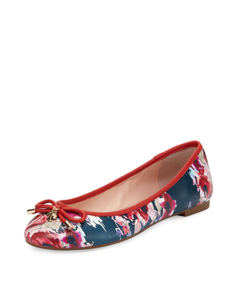 willa floral-print leather Ballet Flat, multi