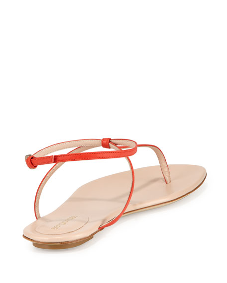 0c38aed8d103 Sergio Rossi Skinny-Strap Leather Thong Sandal, Coral