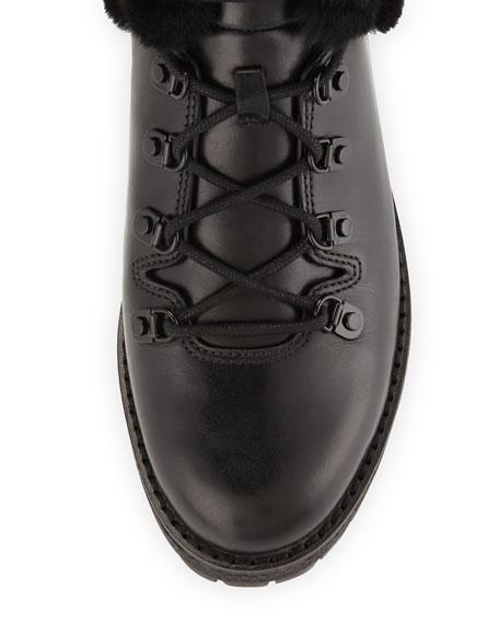 Putnam Shearling Fur Hiking Boot, Black