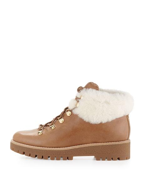 Putnam Shearling Fur Hiking Boot, Dark Caramel
