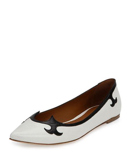 Tomas Maier Madras Flat Ballerina Slip-On, White/Black