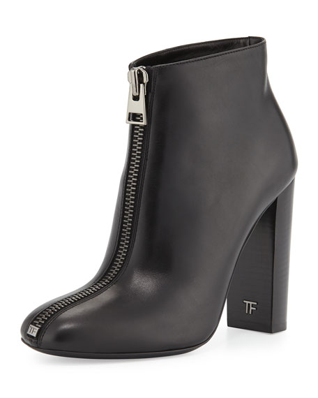 TOM FORD Front-Zip Leather Bootie, Black