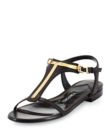 TOM FORD Leather T-Bar Flat Sandal, Black