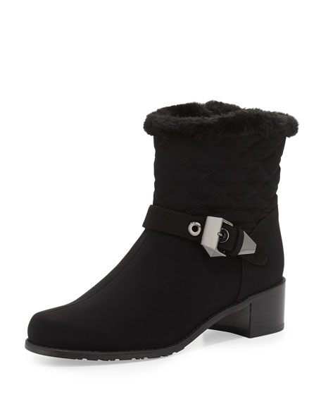 Stuart Weitzman Furgorby Acquatex Faux-Fur Ankle Boot, Black