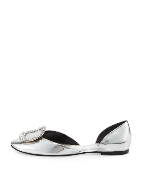 Ballerine Chips Strass d'Orsay Flat, Mirrored Silver