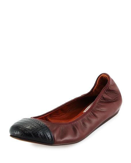Lanvin Textured Cap-Toe Ballet Flat, Burgundy