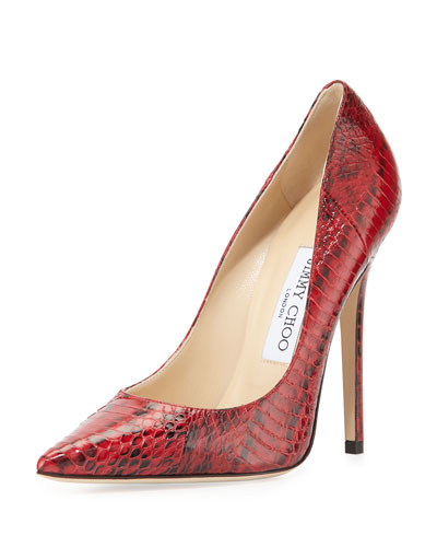 Anouk Glossy Snakeskin Pump, Red