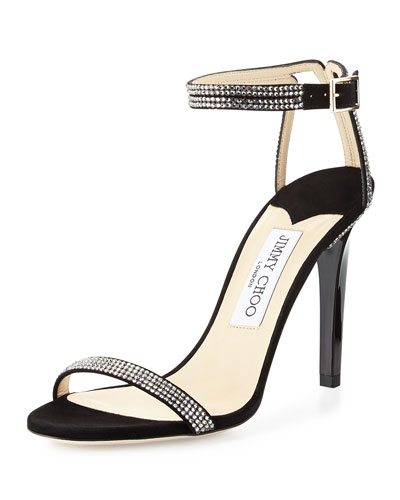 Daisy Crystal-Studded Sandal, Black