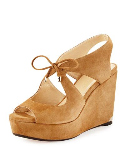 Nayeem Tie-Front Wedge Sandal, Cinnamon