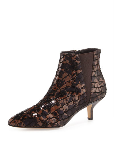 Greeo Croc-Embossed Bootie, Bronze