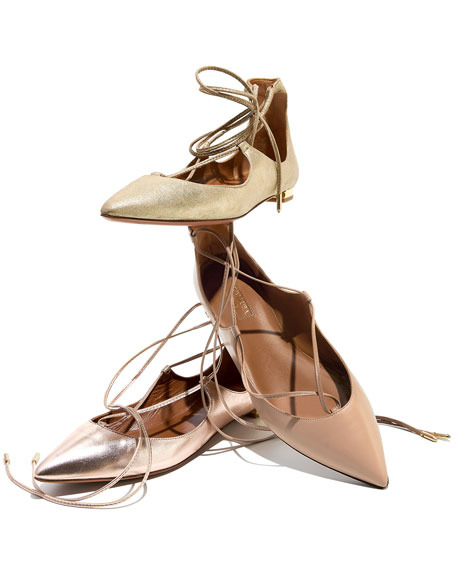 Christy Lace-Up Pointed-Toe Flat, Biscotto