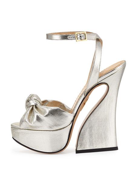 Charlotte Olympia Vreeland Lamé Platform Sandal, Silver