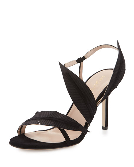 Strappy Suede Sandal W/Leaf Detail, Black