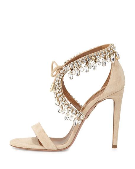 Milla Jeweled Suede Sandal, Nude