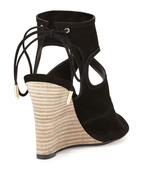 Sexy Thing Suede 85mm Wedge Sandal, Black