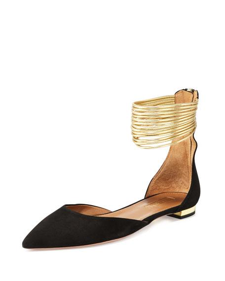Aquazzura Hello Lover Ankle-Strap Flat, Black