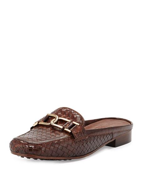 Sesto Meucci Margret Woven Leather Mule, Dark Tan