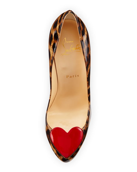 Christian Louboutin Doracora Leopard-Print Heart Red Sole Pump, Brown/Red