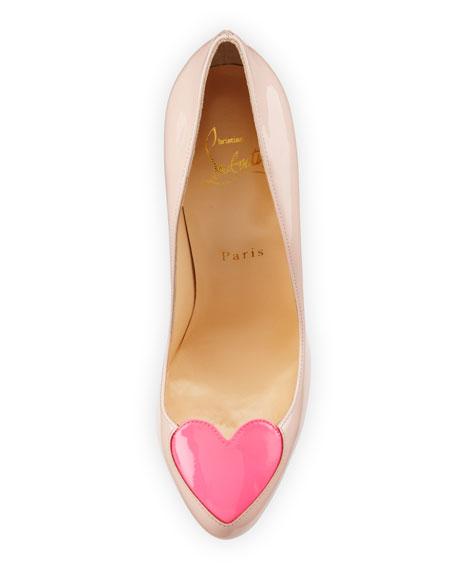 Christian Louboutin Doracora Patent Heart Red Sole Pump, Ballerina/Shocking Pink