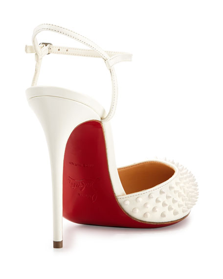 white spiked louboutin pumps - Christian Louboutin Baila Spike Leather Red Sole Pump, White