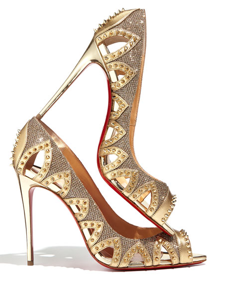 Circus City Spiked Red Sole Pump, Gold