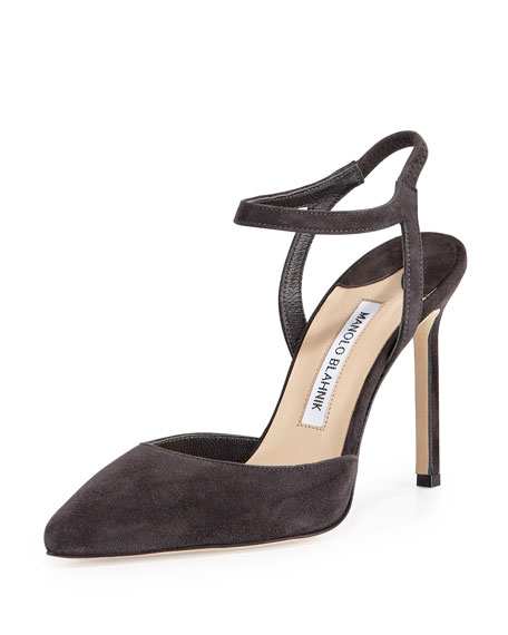 Manolo Blahnik Minis Suede Ankle-Strap Pump, Charcoal