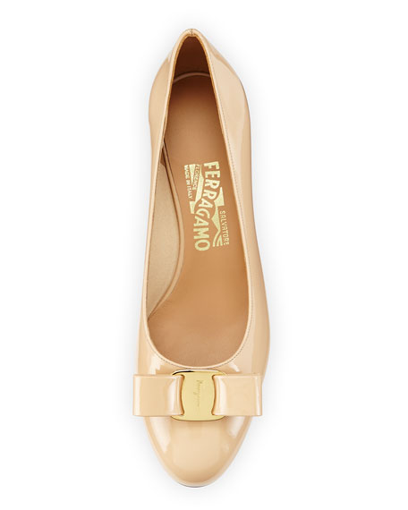 Vara 1 Patent Low-Heel Pumps, New Bisque