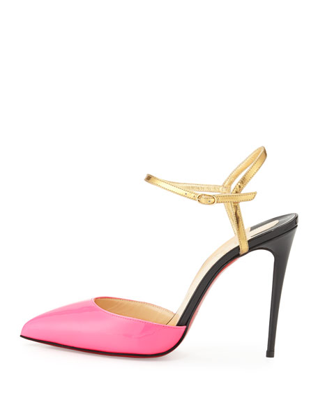 Image 2 of 4: Rivierina Patent Red Sole Pump, Shocking Pink