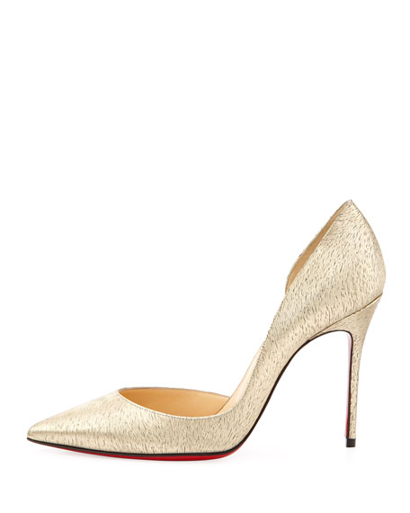 Iriza Animal-Print Laminated Red Sole Pump, Platine Gold