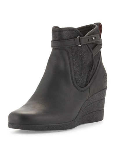 Emalie Leather Wedge Bootie, Black