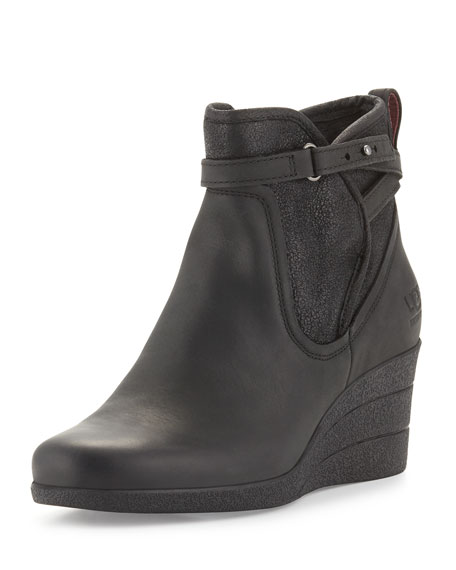 UGG Emalie Leather Wedge Bootie, Black