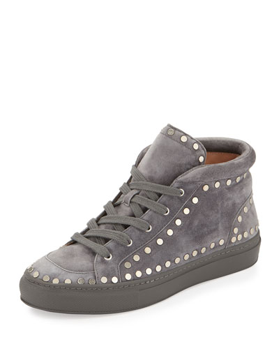 Hugh Studded Suede Mid-Top Sneaker, Dark Gray